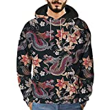 Feitong Herren Pullover, Männer 3D Bedruckte Drachen Pullover Lange Ärmel Kapuzen-Sweatshirt Tops Bluse(EU-48/Size-L, Schwarz)