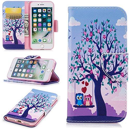 Ooboom® iPhone 5SE Hülle Flip PU Leder Schutzhülle Handy Tasche Case Cover Wallet Brieftasche Standfunktion für iPhone 5SE - Schmetterling Gold Eulen