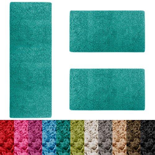 casa pura® Shaggy Bettumrandung Sphinx | Läufer Set 3 teilig für Schlafzimmer | Hochflor Bettvorleger | viele Farben wählbar (Türkis)