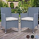 Miadomodo Polyrattan Gartenmöbel Rattanmöbel Stühle in 2er-Set und in der Farbe nach Ihrer Wahl (Grau)