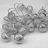 Lichterkette marokkanische Kugeln batteriebetrieben Beleuchtung LED Dekoration silber warmweiß Weihnachts-Dekoration außen und innen Weihnachten