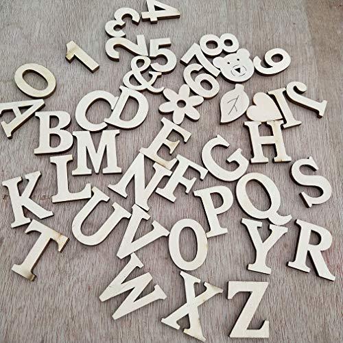 Pinhan Holzbuchstaben und Anzahl Wandaufkleber Handwerk Dekorationen Patch Startseite Hochzeit Dekoration Wandaufkleber Für DIY, digital