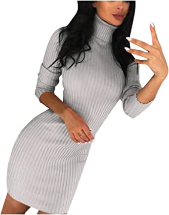 Damen Winter Pullover Kleid Sexy Strickkleider Minikleid Langarm Tunika Casual Rollkragen Sweatshirtkleid Longshirt Bekleidung