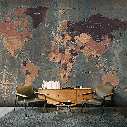 murando - Fototapete Weltkarte 400x280 cm - Vlies Tapete - Moderne Wanddeko - Design Tapete -...