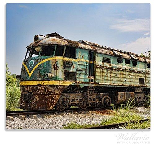 Wallario Herdabdeckplatte/Spritzschutz aus Glas, 1-teilig, 60x52cm, für Ceran- und Induktionsherde, Alte verrostete Lokomotive auf einem Abstellgleis -