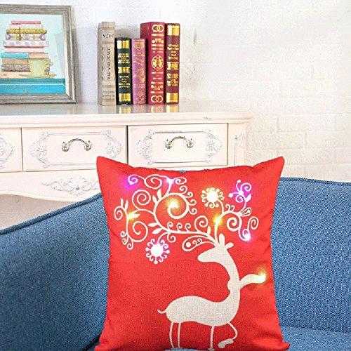 (Amphia Weihnachtsbeleuchtung LED Blinkende Kissenbezug, Kissenbezug Glow In The Dark, Home Sofa Dekor, Beleuchtung Blinkende Kissenbezug, LED Beleuchtung Kissen)