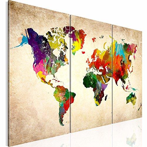 Bilder 120 x 80 cm - Weltkarte Bild - Vlies Leinwand - Kunstdrucke -Wandbild - XXL Format – mehrere Farben und Größen im Shop - Fertig Aufgespannt - Kontinent – Welt – Landkarte 1051339a