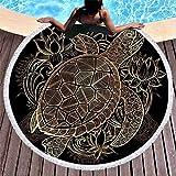 HBZZCL Asciugamano da Bagno Rotondo per Tartarughe da Spiaggia per Bambini Adulti Appeso a Parete Tappezzeria Fiore Coperta in Microfibra Yoga Tappetino Super Assorbente 150 * 150 cm A