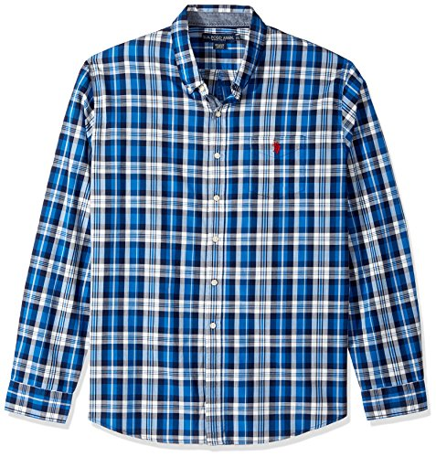 U.S. Polo Assn. Herren Classic Fit Stripe, Plaid or Print Long Sleeve Sport Shirt Button Down Hemd - Blau - (Plaid Fit Shirt Classic)