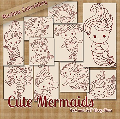 Hübsche Mermaids Redwork Stickerei Maschine Designs auf CD-Multi - Redwork-design