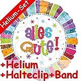 Folienballon Set * ALLES GUTE BUNT + HELIUM FÜLLUNG + HALTE CLIP + BAND * // Aufgeblasen mit Ballongas // Deko Geburtstag Folien Ballon Luftballon Abschied