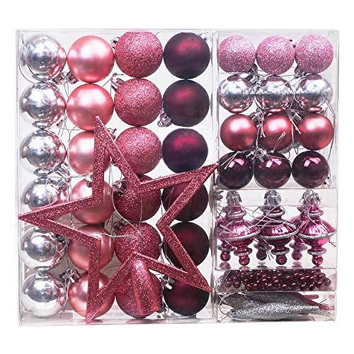 Victor's Workshop 60er Set 1.75-20cm Mysteriöser Palast Weihnachtskugeln Plastik Rosa und Weihnachtsbaumschmuck Anhänger Weihnachtsschmuck für Weihnachten Deko