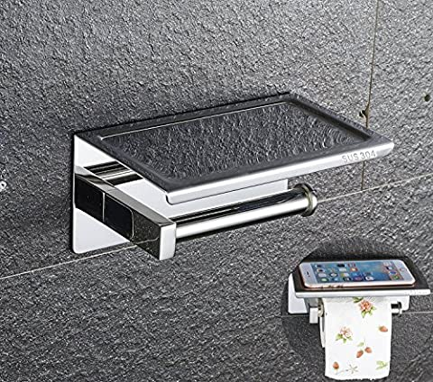 Worldwell Wall Mounted Self Adhesive Bathroom Toilet Paper Holder Stainless Steel 304 Polished Chrome-Plated Design Toilet Roll Holder Storage With Moblie Phone Holder