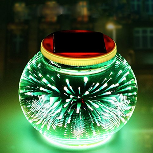 Solar Mosaic Glass Ball Garden Lights,KINGCOO Waterproof Color Changing Mood Night Lights Solar Outdoor Table Lamp for Bedroom Party Garden Patio Yard Decoration Lighting (3D Fireworks)