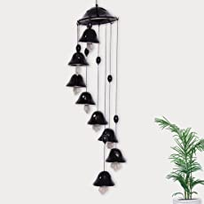 ExclusiveLane Melodious Sound Ceramic Wind Chimes with 8 Bells in Black - Door Hanging Wind Chimes Home Decoration Item