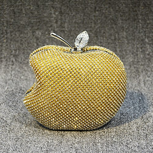 Kotiger Lady donne Apple Shape wedding Partyluxury sera frizione borsa a tracolla trucco borsa con catena, White,白色 Yellow,黄色