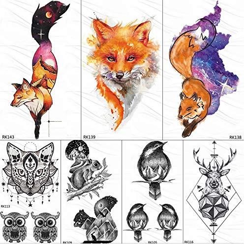 yyyDL Mode DIY Galaxy Fox Temporäre Tattoos Für Frauen Aufkleber Berg Gefälschte Tätowierung Für Kind Benutzerdefinierte Wasserdichte Tatoos Body Art 10 * 6 cm 7 stücke