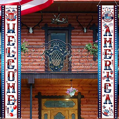 atriotischen Veranda Zeichen Welcome Zeichen Dekoration Set 4. Juli Patriotischen Welcome Banner Patriotische Party Liefern Dekor Unabhängigkeitstag Dekorationen ()