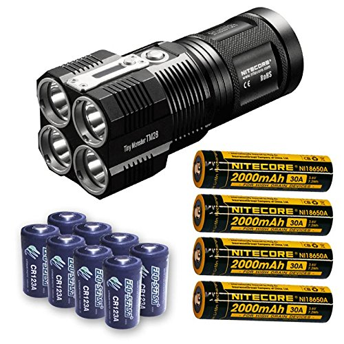 Bundle: Nitecore TM28 6000 Lumen Rechargeable Flashlight / Searchlight w/4x Panasonic/Sanyo 3500mAh 10A 18650 Batteries Sanyo Bundle