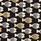 Cotton+Steel Schwarzer Stoff mit Fischen