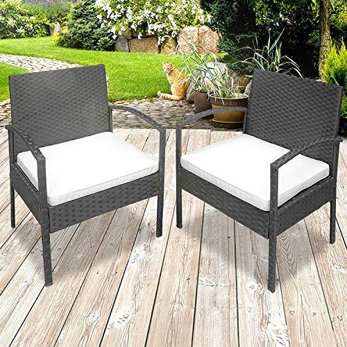 MIADOMODO Polyrattan Gartenstühle | mit Sitzkissen, Strapazierfähig, Pflegeleicht, Farbwahl | Rattansessel, Terrassenmöbel, Gartensessel, Gartenmöbel (Grau)