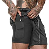 Ultra Dry Men's 2-in-1 Running Sport Shorts Workout Training Short with Inner Compression and Zipper Pockets