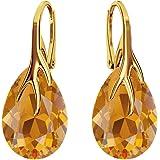 *Farfalla Rossa* – Orecchini in argento 925 placcato oro – Orecchini a forma di goccia – molti colori – Orecchini con cristal