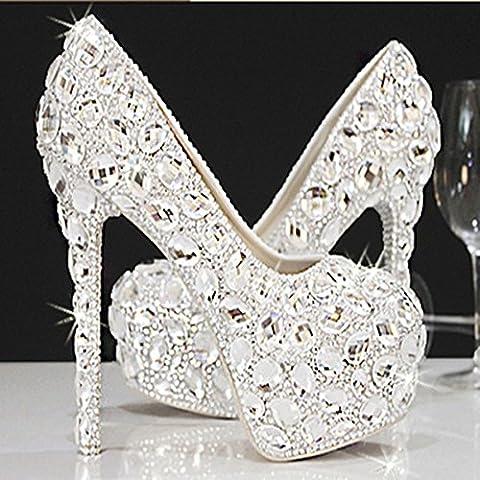 xieshijie-hlx coreano moda/matrimonio/Inlay strass di cristallo/argento tacco alto/piattaforma/vestiti/scarpe scarpe da sposa, donna, bianco