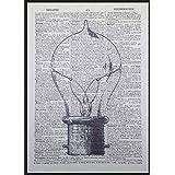 Ampoule vintage imprimé Steampunk industriel dictionnaire page Décoration murale Tableau