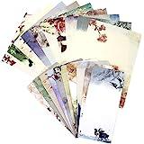 مجموعة أوراق ومظاريف ثابتة، مجموعة من 60 قطعة قرطاسية (40 ورقة قرطاسية + 20 ظرف) 10 ألوان مختلفة طلاء حبر كلاسيكي عتيق مع شري