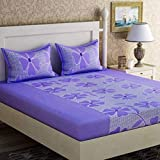 Fabture Flower Printed Glace Cotton Premium 180 TC Double Bedsheet with 2 Pillow Covers (Purple)