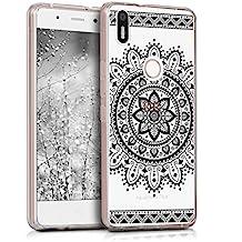 kwmobile Funda para Aquaris X5 Plus bq - Case de cristal para móvil en TPU silicona - Cover trasero de cristal Diseño Flor azteca negro transparente