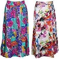 Mogul Interior 2Pc Womens Maxi Skirt Floral Printed Cotton Boho Gypsy Hippie Skirts S/M