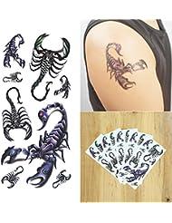 COKOHAPPY 3D Temporaire Tatouage 5 Feuilles 3D Scorpion Long Lasting Flash Tatouage Corps Art