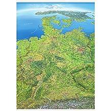 Panoramakarte Deutschland Poster einseitig laminiert