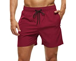 YuKaiChen Men's Swimming Trunks Quick Dry Beach Shorts Casual Running Gym Shorts with Zipper Pockets and Mesh Lining