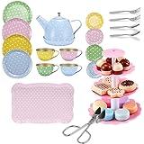 FUQUN 36 delar eftermiddagste fest teaset leksaker - barn metall te-set leksaker - låtsas leka mat kakor kex, illustrerad fär