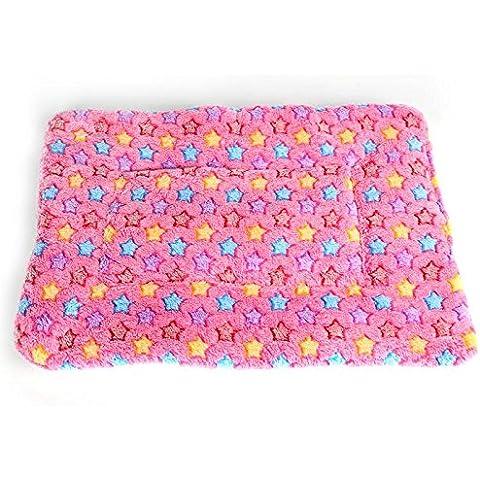 Amortiguador del animal doméstico perro jaula mat coral mascota mantas de lana cálida manta mascotas medianas y grandes para los productos de otoño/invierno,xs,pink star mat