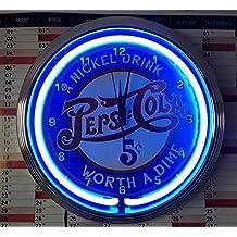 Neon clock Old Pepsi Cola 5cent Sign Wall Clock Blue Neon Rim Neon Orologio illuminazione blu