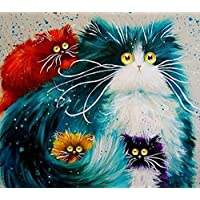 kit mosaico familia gatos coloridos piedras cuentas de cristal puzzle cristales multicolor para manualidades, regalos