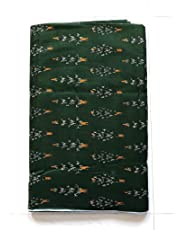 NK Textiles Women's Ikat Print Linen Cotton Unstitched Fabric   Dark Green   2.5 Meters   3 Meters   5 Meters   for Making Kurtis, Gowns, Palazzo, Patiyala etc Dress Material