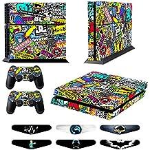 GameXcel ® PS4 Diseñador Pegatina protectora de la piel para Sony Playstation 4 consola del sistema más dos (2) Calcomanías Para: mando inalámbrico DUALSHOCK PS4 - Doodle