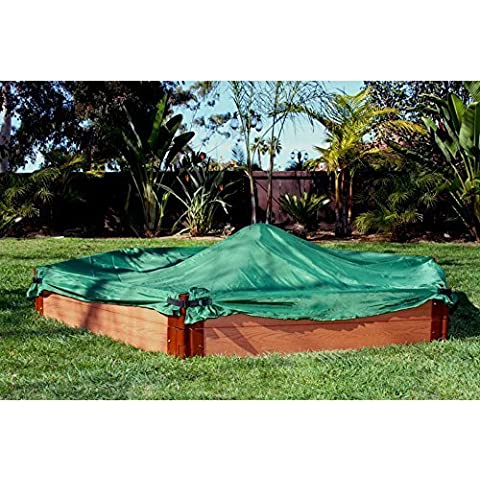 Frame It All Frame It All One Inch Series Composite Hexagon Sandbox Kit with Cover - 7ft. x 8ft. x 11in., Brown, Plastic Sandboxes, 8 by Contech Enterprises Inc