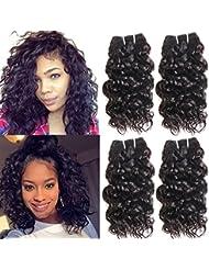 Ms Taj Brésilienne Vague D'eau Vierge Cheveux 4 Bundles 7A Humide et Ondulés de Cheveux Humains Weaves Non Transformés Brésiliens Bouclés Weave de Cheveux Humains 50g / Bundle Naturel Noir 8 8 8 8