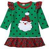 Bebé Niña Vestido de Navidad con Manga Larga Disfraz Navideño para Recien Nacida Chicas 0-6 Años Vestido Verde de Volantes co