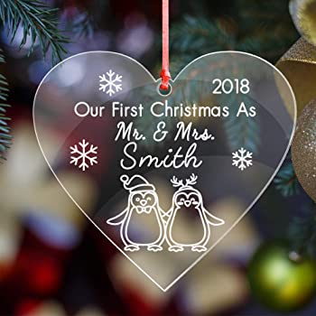 First 1st Christmas as Mr /& Mrs Personalised Husband Wife Heart Tree Decoration