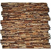 HO 006   1 Holz Paneele Auf Netz Teakholz 3D Wandverkleidung Verblender  Wandtatoo Wandfliese Wanddekoration