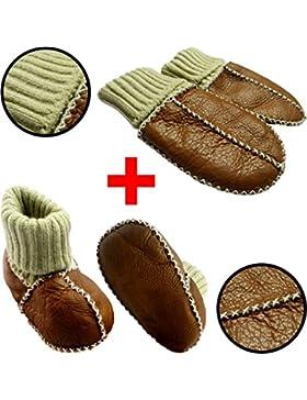 SET Baby Lammfell Babyschuhe + Handschuhe / Fäustlinge (Mit Strickbündchen) ECHTES LAMMFELL