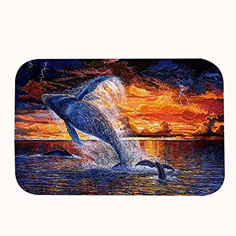 warrantyll Corallo Pile Jumping Balena sotto il tramonto resistente da bagno zerbino tappeto tappeto zerbino, #04, 16