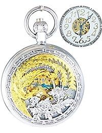 Ogle impermeable oro Phoenix colgante collar cadena oro blanco Fob Self bobinado automático esqueleto mecánico reloj de bolsillo
